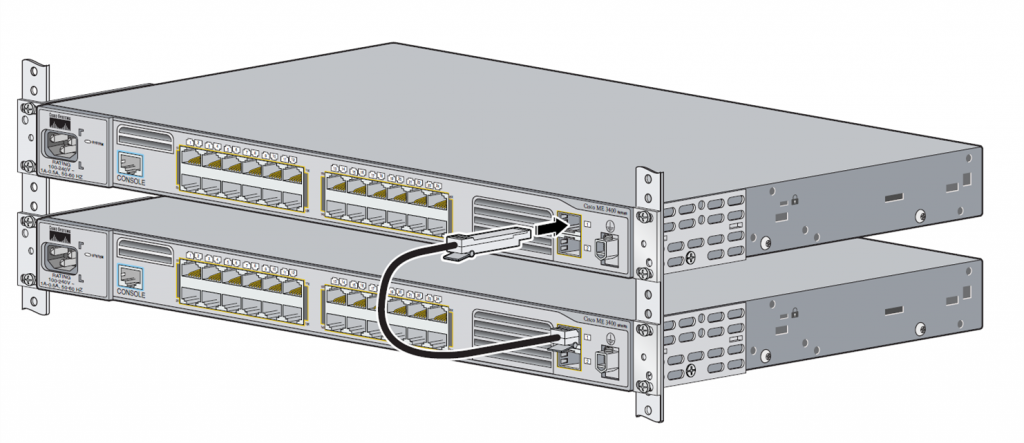 two Cisco ME 3400 Switch connected by SFP patch cable