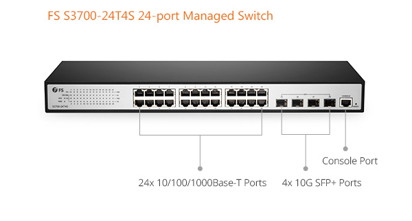 FS gigabit switch with 10G uplink port